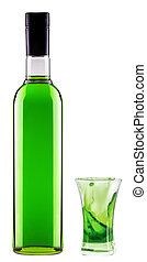 full bottle of green alcoholic cocktail with shot glass
