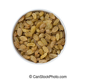 Full Bowl of Raisins on a white background. Dried grapes.