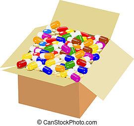 Full box of colorful medicine