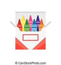 full box of wax colorful crayons, vector illustration