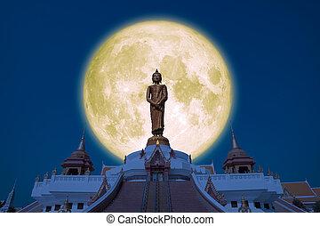 Full Buck moon on night sky in the Asanha bucha day back Sunday Buddha