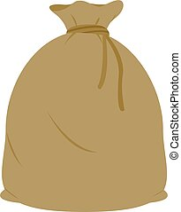 Full burlap sack tied with rope. Vector illustration