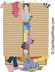 Full Closet - Illustration of a Closet Overflowing with...