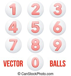 Full collection of icons balls with numbers.
