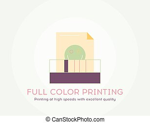 Full color printing icon - Thin line flat design of Printing at high speeds with excellent quality.