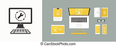 Full computer repair assistance - Vector flat icon