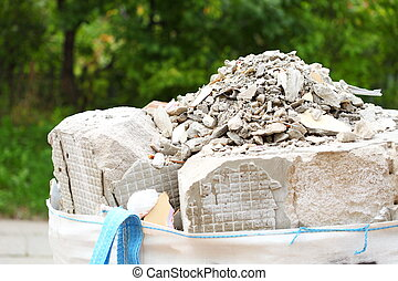 Full construction waste debris rubble bags