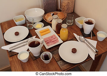 Full continental breakfast table for two