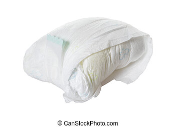 full diaper of a baby isolated over a white background