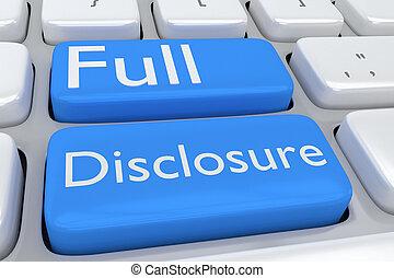 Full Disclosure concept - Render illustration of computer ...