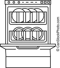 Full dishwasher icon. Outline full dishwasher vector icon for web design isolated on white background