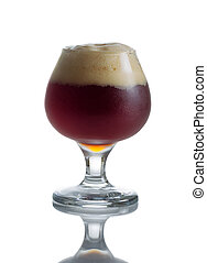 Full Draft Dark Beer in Glass Goblet - Fresh dark beer in...