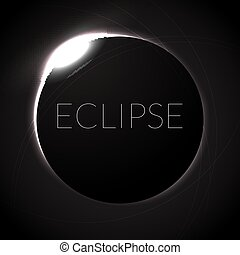 Full eclipse vector illustration. Eclipse with ring of sun in deep space. Full Solar eclipce.