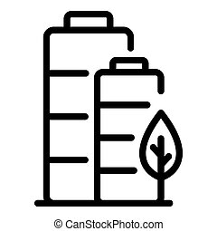 Full eco car battery icon, outline style