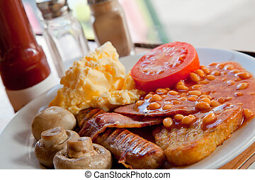 Full English Breakfast on Table with ketchup