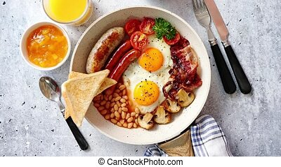 Full English Breakfast served in a pan