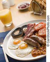Full English Breakfast with Orange Juice Toast and Jam