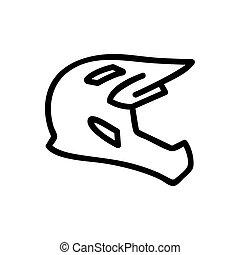 full face cross helmet icon vector. full face cross helmet sign. isolated contour symbol illustration