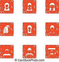 Full face icons set. Grunge set of 9 full face vector icons for web isolated on white background