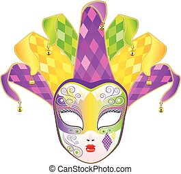 Full Face Mask - Decorative full face carnival mask with...