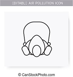 Full face respirator line icon. Biohazard vapors respiratory protection. Face shield protecting eyes. Environment pollution and ecology damage concept. Isolated vector illustration. Editable stroke