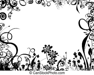 a black and white summer foliage border - plenty of white space to work in