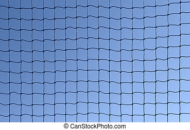 full frame background showing a dark netting in front of blue sky