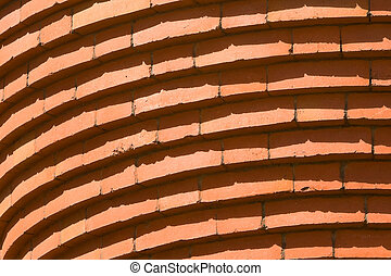 Full Frame Curved Bricks in Row Building Abstract