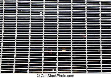 Full Frame Dirty Silver Metal Grate - Overhead view of metal...