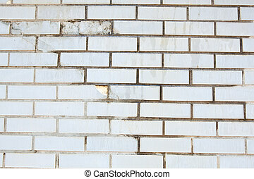 Full Frame Grungy Cracked Green Brick Wall
