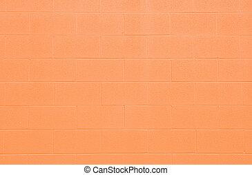 Full Frame Orange Cinderblock Wall