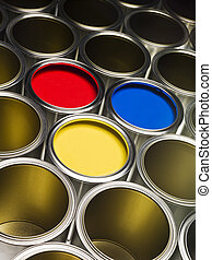 Full Frame Paint Cans - Full Frame of Paint Cans with red, ...