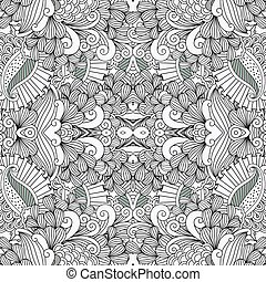 Full frame pattern background against white with ornamental floral designs and beautiful geometric elements