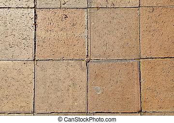Full Frame Square Brick Tile Sidewalk Background