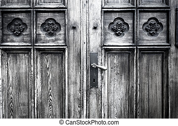 Full frame take of an old wooden door