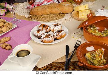 Hanukkah food - Full frame take of assorted homemade...