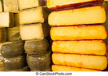 Manchego cheese - Full frame take of Manchego cheese on...
