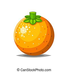 Full fresh orange pear with green leaf icon isolated on...
