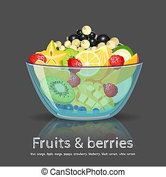 Full fruit salad glass bowl on black backdrop