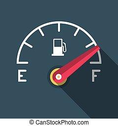 Full Fuel Icon. Vector Flat Design Gasoline Dashboard Symbol.