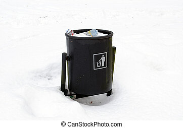 full garbage dustbin waste bin snow winter park