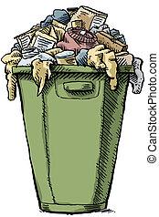 Full Garbage - A cartoon garbage bin, full and overflowing...
