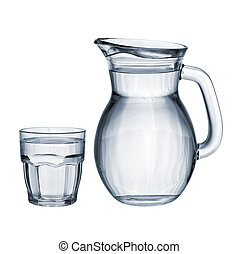 Full glass and jug isolated - Full of water glass and jug...