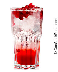 Full glass of fresh cranberries nonalcoholic cocktail with...