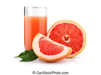 Full glass of grapefruit juice and fruits isolated