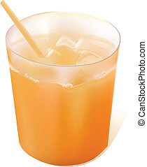 Full glass of orange juice with straw