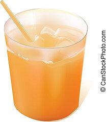 Full glass of orange juice with straw