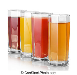 Full glasses with the different juice