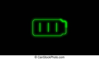Full green battery 2d animation neon light icon - Green...