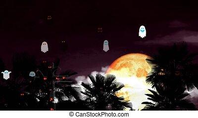 Full Halloween Moon on night sky back silhouette palm tree ...
